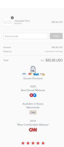 adjustable pillow checkout page